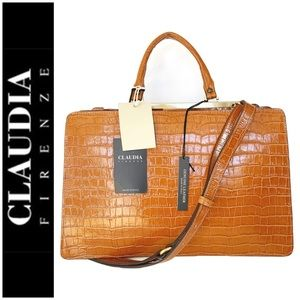NWT Claudia Firenze genuine leather satchel brown